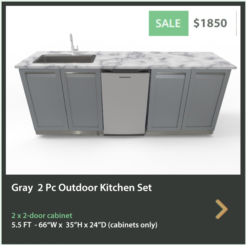 1850 4 Life Outdoor Product Image 2 PC Outdoor kitchen 2 x 2 Gray