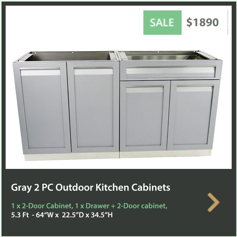 1890 4 Life Outdoor Product Image 2 PC Outdoor kitchen 1 x 2-door cabinet 1 x Drawer Plus 2-door cabinet