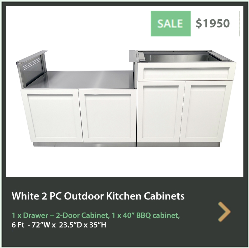 1950 4 Life Outdoor Product Image 2 PC Outdoor Kitchen White 1 x Drawer Plus 2-door 1 x BBQ cabinet