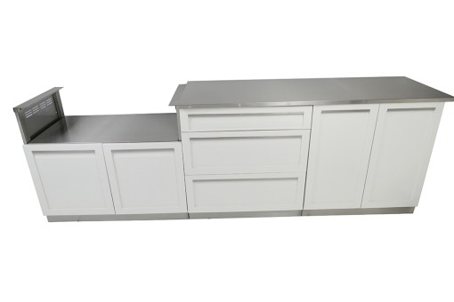 "White 4 PC Outdoor Kitchen: 1 x 2-door Cabinet, 1 x 32""BBQ Cabinet, 3 Drawer Cabinet, 1 x 66 countertop 8"