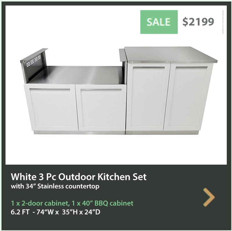 2199 4 Life Outdoor Product Image 2 PC set White stainless steel cabinets 2 door and BBQ cabinet 34 inch stainless countertop