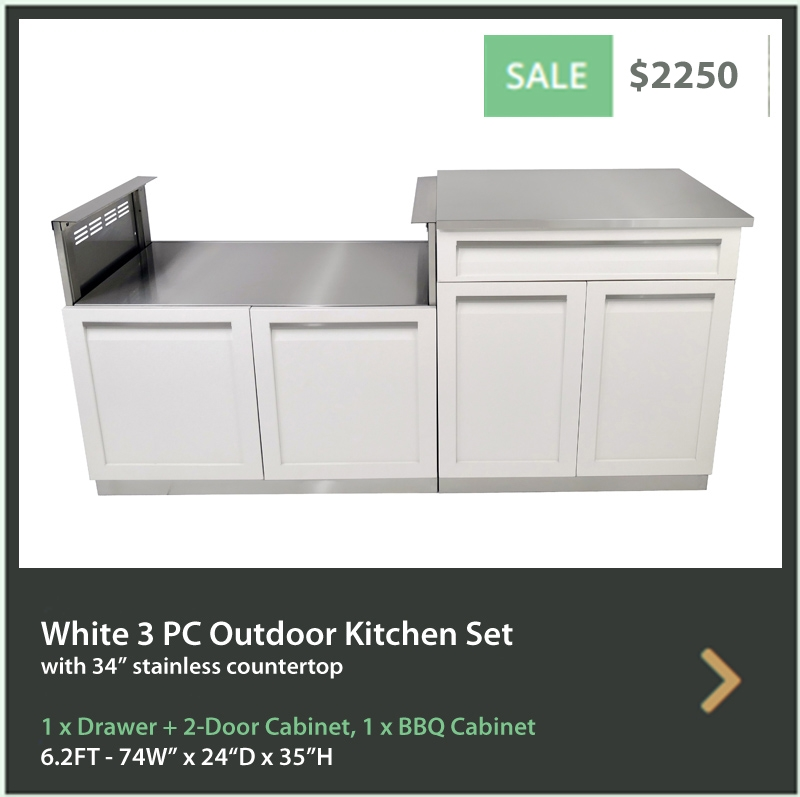 4 Life Outdoor Product Image 3 PC Set Gray Stainless Steel Cabinets 1x3-Drawer Cabinet 1xBBQ Cabinet 34 Inch Stainless Countertop