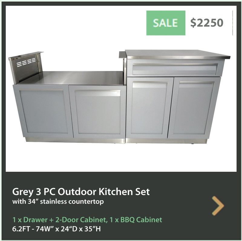 2250 4 Life Outdoor Product Image 3 PC set Gray Stainless Steel Cabinets 1xDrawer+2 Door Cabinet BBQ Cabinet 34 Inch Stainless Countertop