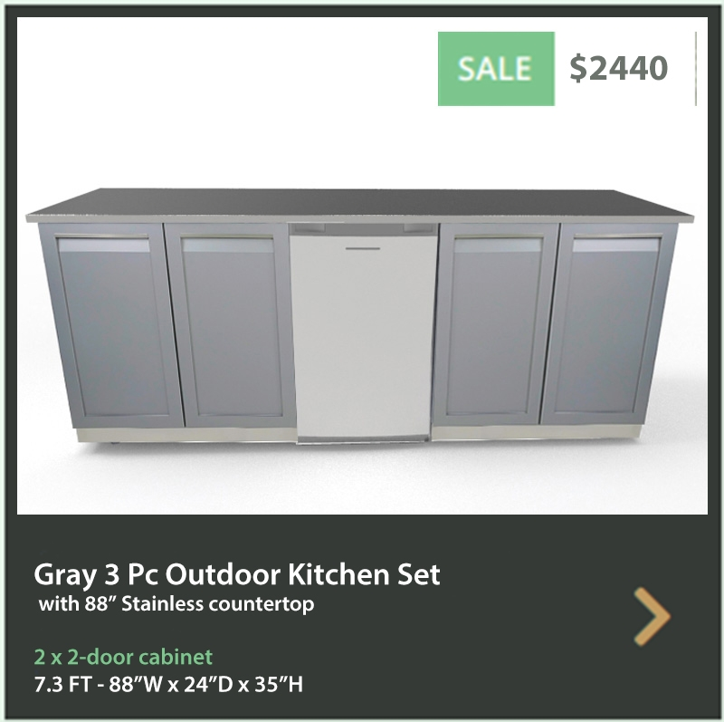 4 Life Outdoor Product Image 3 PC set Gray Stainless Steel Cabinets 2x2 Door Cabinet 88 inch Stainless Countertop