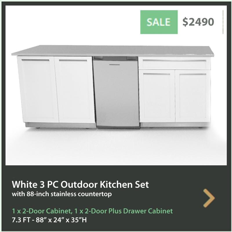 2490 4 Life Outdoor Product Image 3 PC Outdoor Kitchen White 1x2-door cabinet, 1xDrawer Plus 2-door Cabinet 88 Stainless Countertop