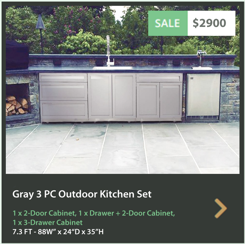 2900 4 Life Outdoor Product Image 3 PC Set Gray Stainless Steel Cabinets 1x2-door Cabinet 1xDrawer+2 door 1x3-Drawer Cabinet