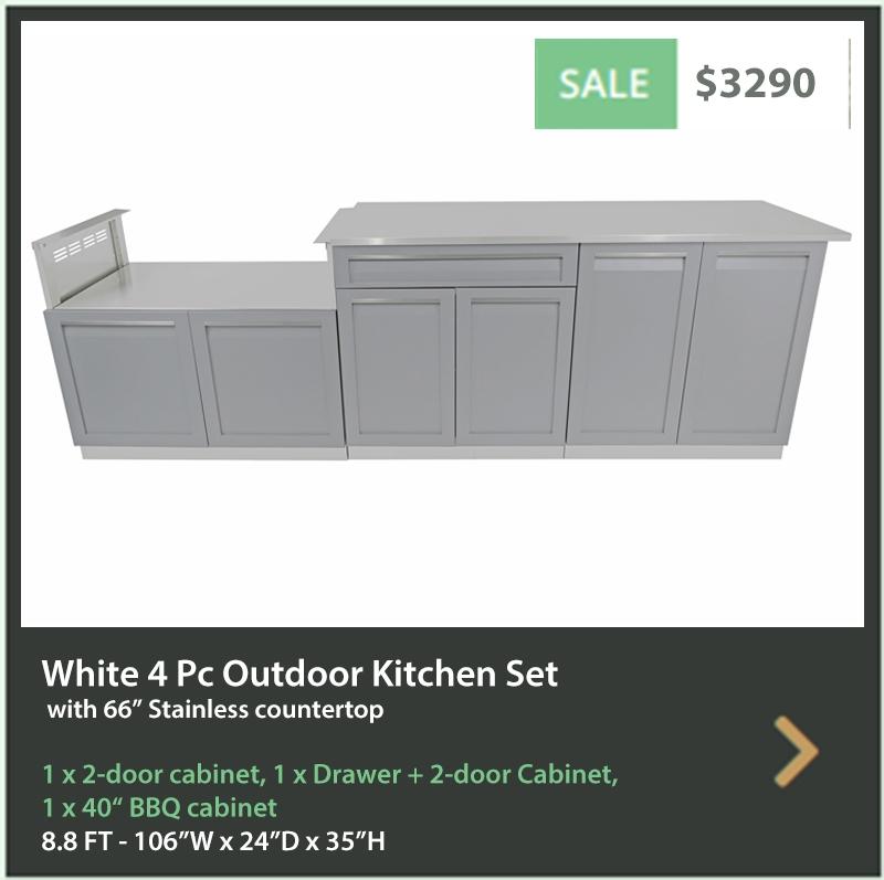 3100 4 Life Outdoor Product Image 4 PC Outdoor kitchen Gray 2 door Drawer Plus 2-door BBQ 66 inch stainless countertop