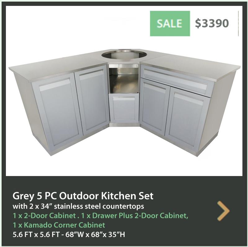 3250 4 Life Outdoor Product Image 5 PC Outdoor kitchen Gray 1x2-Door Cabinet 1xDrawer+2-Door 1xKamado Corner 2x34 Inch Stainless Countertop