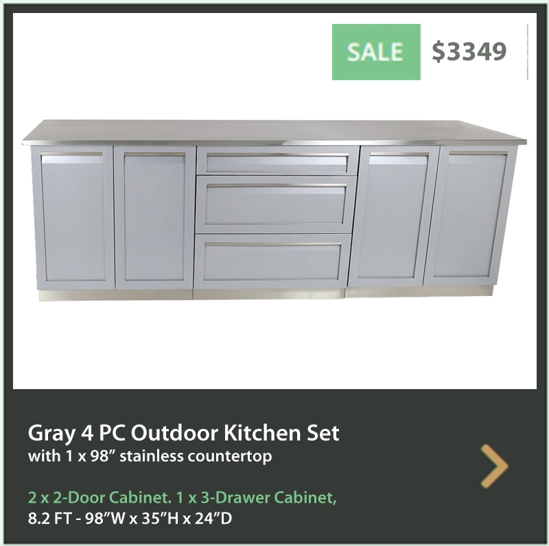 3349 4 Life Outdoor Product Image 4 PC set Gray stainless steel cabinets 2 x 2 door 3 Drawer cabinet 98 inch stainless countertop