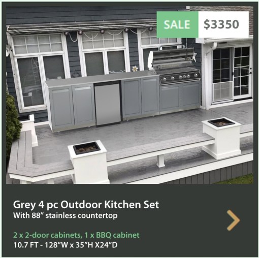 "Gray 4 PC Outdoor Kitchen: BBQ Grill Cabinet, 2 x 2-Door Cabinet, 1x88"" Stainless Countertop 12"