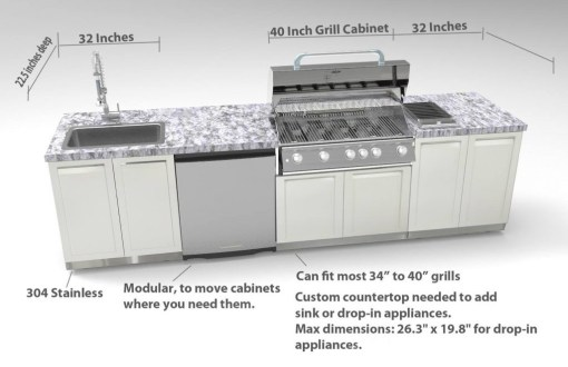 Gray 2 PC Outdoor Kitchen Cabinets: 2 x 2-door cabinets 4