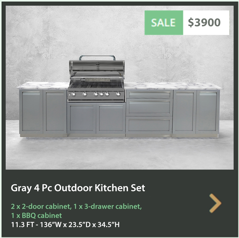 "Gray 4 PC Outdoor Kitchen: BBQ Grill Cabinet, 2 x 2-Door Cabinet, 1x88"" Stainless Countertop 17"