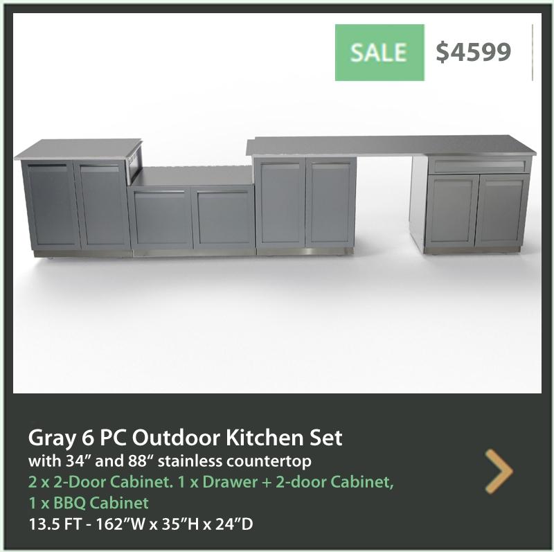 4599 4 Life Outdoor Product Image 6 PC Outdoor kitchen Gray 2 x 2 door Drawer plus 2 door BBQ 34 88 inch stainless countertops