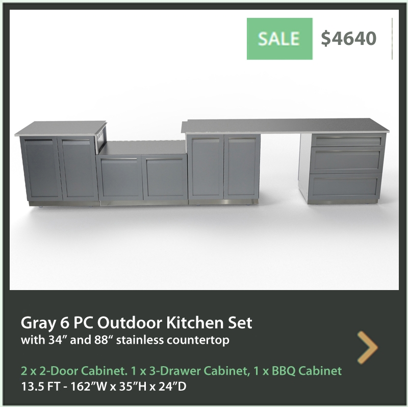 4640 4 Life Outdoor Product Image 6 PC Outdoor kitchen Gray 2 x 2 door 3 Drawer BBQ 34 88 inch stainless countertops
