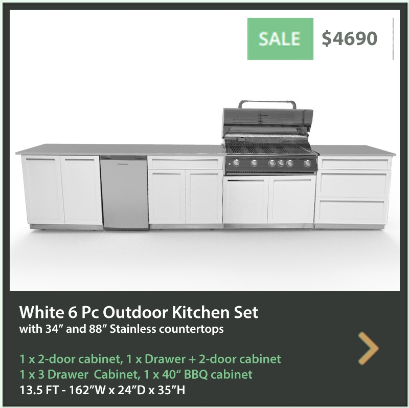 4690 4 Life Outdoor 5 PC set White Stainless Steel Cabinets 1x2-Door Cabinet 1xDrawer+2-Door Cabinet 1x3-Drawer Cabinet 1xBBQ Cabinet 34 88 Inch Stainless C