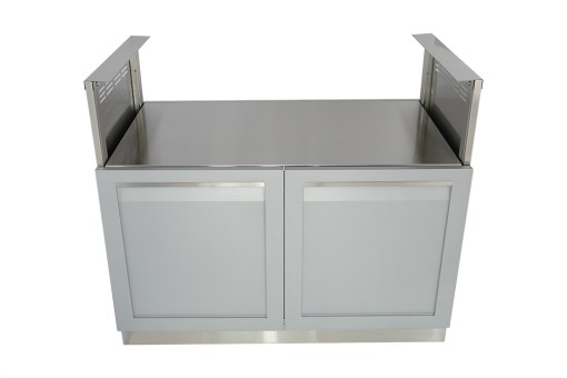 "Gray 5 PC Outdoor Kitchen: 1 x 2-door cabinet, 1 x Corner Cabinet, 1 x 40"" BBQ Cabinet, 2 x side panels 14"
