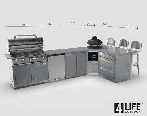 "Gray Stainless Steel 5 PC Outdoor Kitchen Set: 2-Door Cabinet, 3-Drawer Cabinet, Corner Kamado Cabinet, 40"" BBQ, side panel 21"
