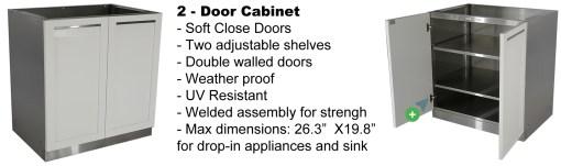 White 3 PC Outdoor Kitchen Cabinets: 2 x 2-Door Cabinet, Drawer+2-door Cabinet 18