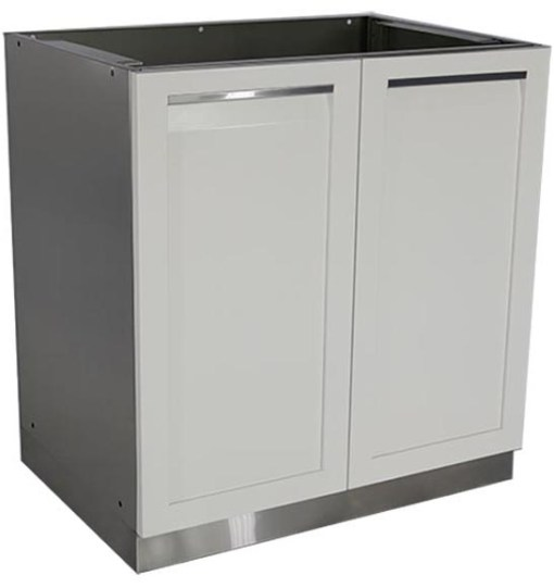 White 6 PC Outdoor Kitchen - 1 x 2-door Cabinet, 1 x 3-drawer, BBQ Cabinet, Kamado Corner Cabinet, 2x Side Panels 11