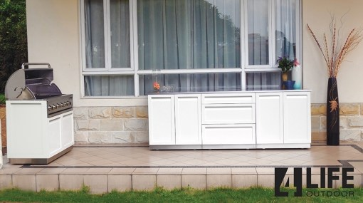 White 8 PC Outdoor Kitchen: 2 x 2-door Cabinet, BBQ Cabinet, Drawer + 2-door Cabinet, 4 x side panels 13