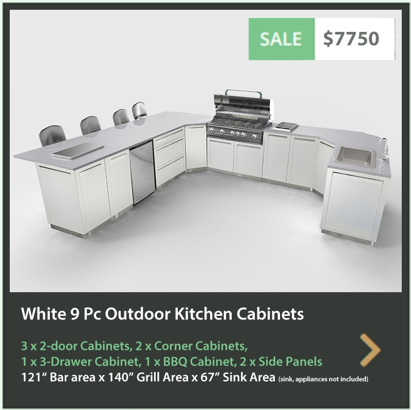 7750 4 Life Outdoor Product Image 9 PC White Outdoor kitchen 3 x 2 door 1 x 3 drawer 1 x BBQ 2 x Corner 2 x Side panels