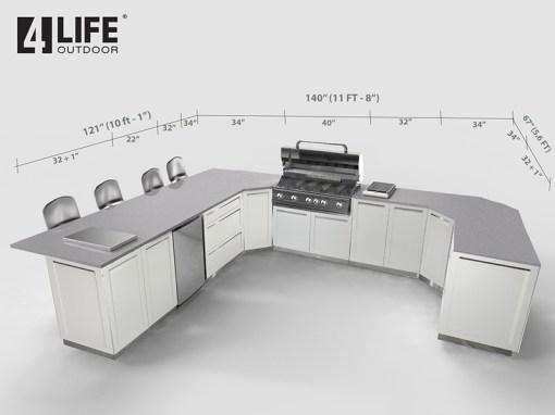 White 9 PC Outdoor Kitchen: 3 x 2-door Cabinet, 1 x 3 Drawer Cabinet, 2 x Corner Cabinet, 1 x 40-inch BBQ Cabinet, 2 x side panels 9