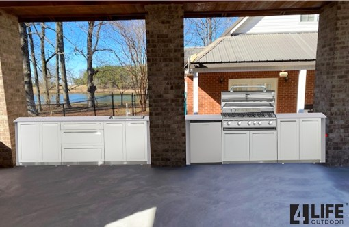 White 5 PC Outdoor Kitchen: 3 x 2-door Cabinet, BBQ Cabinet, 3 Drawer Cabinet 14