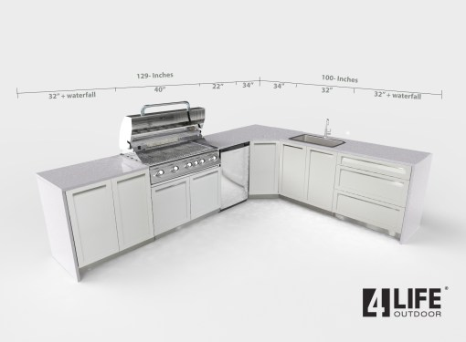 White 5 PC Outdoor Kitchen: 2 x 2-door Cabinet, 1 x 3-drawer, BBQ Cabinet, Corner Cabinet 18