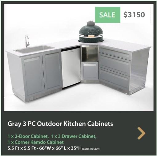 Gray 3 PC Outdoor Kitchen: 1 x 2-door Cabinet, 1 x 3 Drawer Cabinet, Corner Kamado Cabinet 15