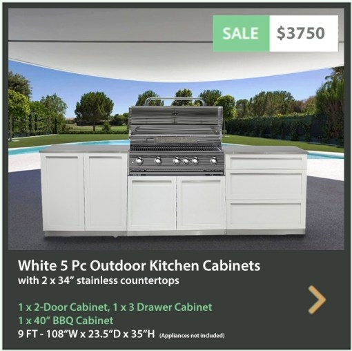 3750 4 Life Outdoor Product Image White 5 PC Outdoor kitchen 1 x 2 door 1 x BBQ 1 x 3 drawer 2 x 34 stainless countertops2