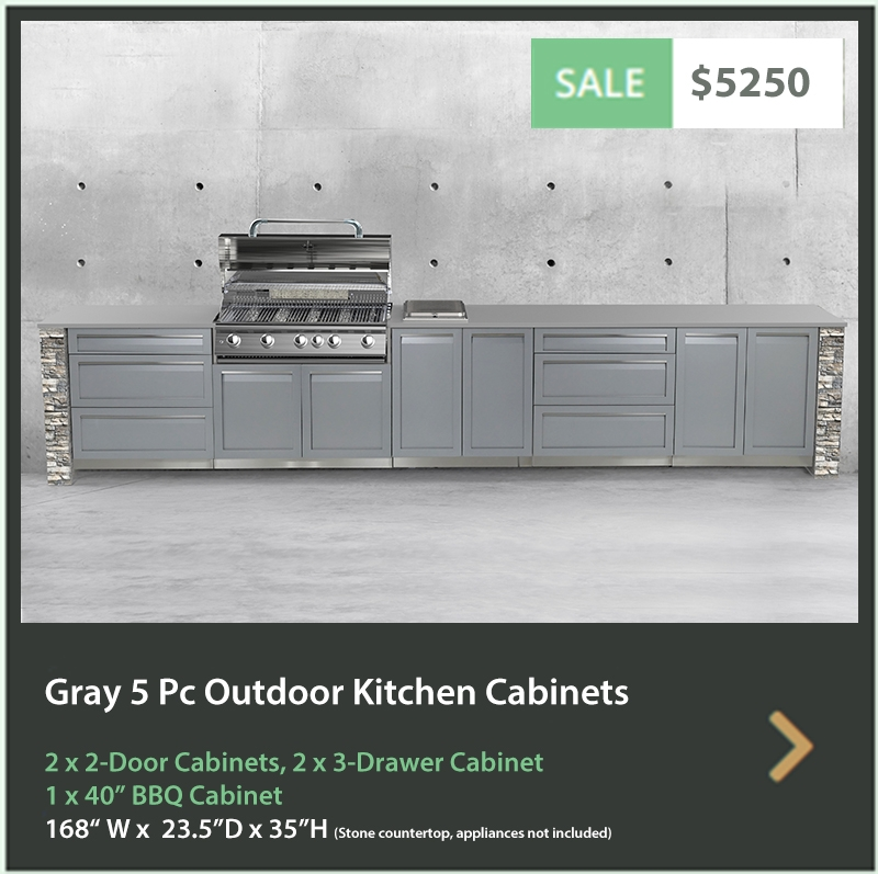 5250 4 Life Outdoor Product Image 5 PC Set Gray Stainless Steel Cabinets 2x2 door Cabinet, 2 x 3 Drawer Cabinet 1x40BBQ Cabinet