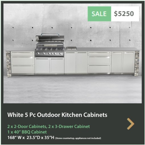 5250 4 Life Outdoor Product Image 5 PC Set White Stainless Steel Cabinets 2x2 door Cabinet, 2 x 3 Drawer Cabinet 1x40BBQ Cabinet