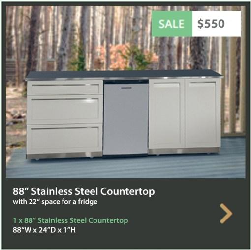 550 4 Life Outdoor 88 Inch Stainless Steel Outdoor Kitchen Countertop