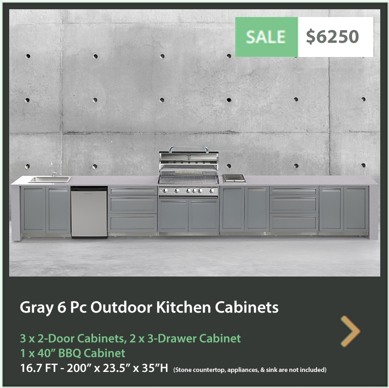 6250 4 Life Outdoor Product Image 6 PC Set Gray Stainless Steel Cabinets 3x2 door Cabinet, 2 x 3 Drawer Cabinet 1x40BBQ Cabinet