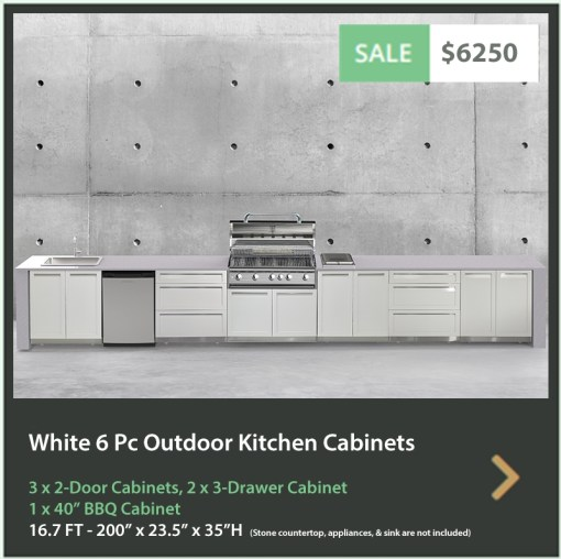 6250 4 Life Outdoor Product Image 6 PC Set White Stainless Steel Cabinets 3x2 door Cabinet, 2 x 3 Drawer Cabinet 1x40BBQ Cabinet