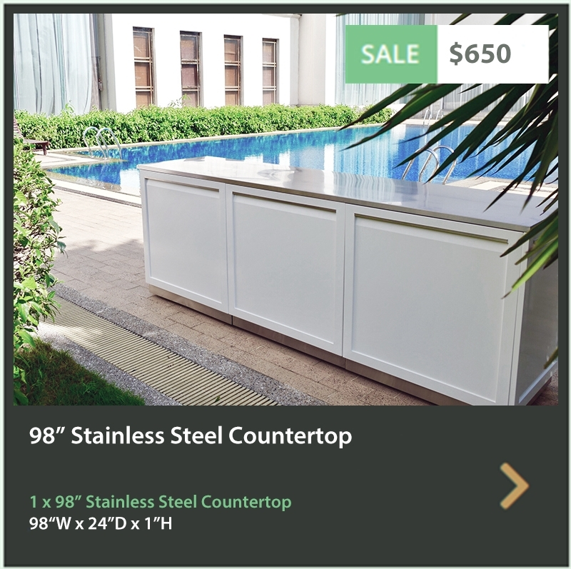650 4 Life Outdoor 98 Inch Stainless Steel Outdoor Kitchen Countertop