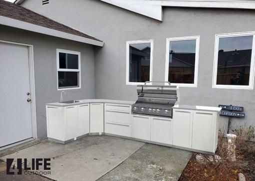 White 5 PC Outdoor Kitchen: 2 x 2-door Cabinet, 1 x 3-drawer, BBQ Cabinet, Corner Cabinet, 2 side panels 15
