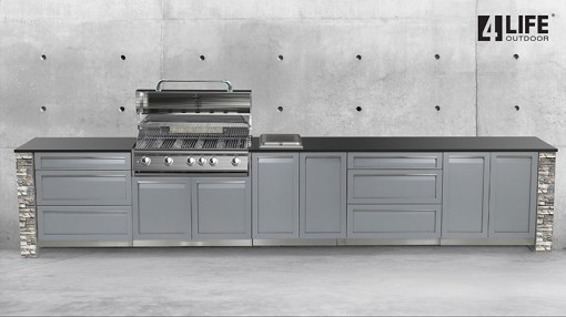 Gray 5 PC Outdoor Kitchen: BBQ Grill Cabinet, 2x2-Door Cabinet, 2x3-drawer Cabinet 11