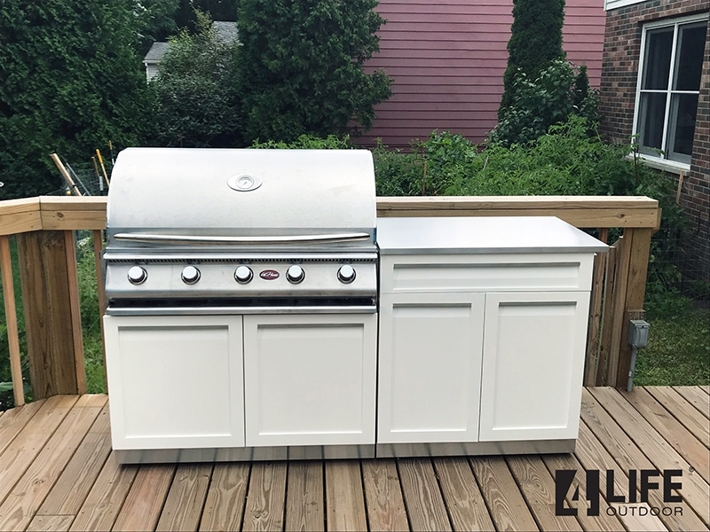 White Stainless Steel Outdoor Kitchen Cabinets 16