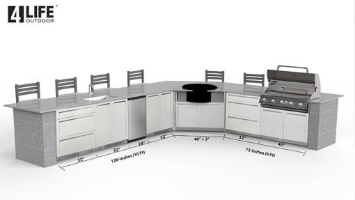 Customer Design Arangio: White 6 PC Outdoor Kitchen - 2 x 2-door Cabinet, 2 x 3drawer, 2 x BBQ Cabinet 11