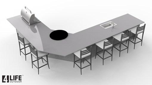 Customer Design Arangio: White 6 PC Outdoor Kitchen - 2 x 2-door Cabinet, 2 x 3drawer, 2 x BBQ Cabinet 12