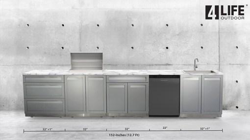 Dealer order - Northbank: Gray 4 PC Outdoor Kitchen: 2 x 2-Door Cabinets, 1 x 3 Drawer Cabinet, 1 x Drawer + 2-Door Cabinet 13