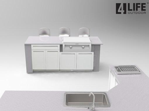 Dealer design: White 8 PC Outdoor Kitchen - 2 x 2-door Cabinet, 1 x 3drawer, 1 x drawer + 2-door cabinet, 1 x BBQ Cabinet, 1 x Corner Cabinet, 2 side panels 14