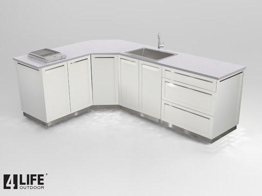 Dealer design: White 8 PC Outdoor Kitchen - 2 x 2-door Cabinet, 1 x 3drawer, 1 x drawer + 2-door cabinet, 1 x BBQ Cabinet, 1 x Corner Cabinet, 2 side panels 13