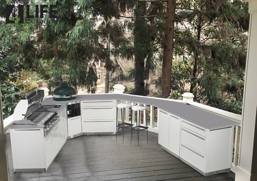 Customer design: White 8 PC Outdoor Kitchen - 2 x 2-door Cabinet, 2 x 3drawer, BBQ Cabinet, Kamado Corner Cabinet, 2x Side Panels 13
