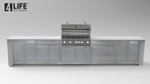 Dealer Pricing: Gray 5 PC Outdoor Kitchen Set: 2 x 2-Door Cabinet, 3 Drawer Cabinet, Drawer +2-Door Cabinet, BBQ Cabinet 7