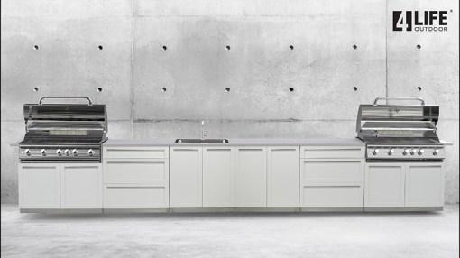 Builder design: White 6 PC Outdoor Kitchen - 2 x 2-door Cabinet, 2 x 3drawer, 2 x BBQ Cabinet 9