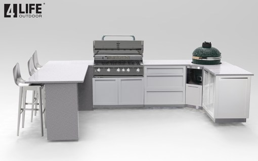 Customer Design Corn: White 5 PC Outdoor Kitchen - 1 x 2-door Cabinet, 1 x 3drawer, 1 x BBQ Cabinet, 1 x corner kamado cabinet, 1 x side panel 9