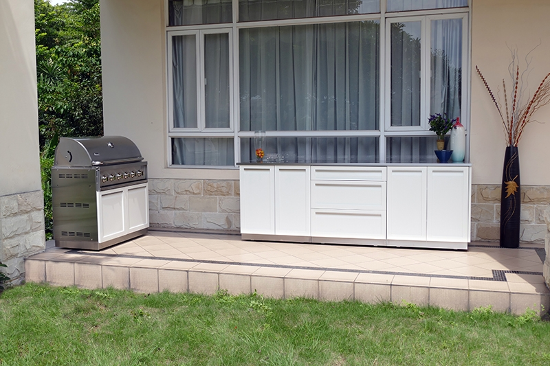 White Stainless Steel Outdoor Kitchen Cabinets 14