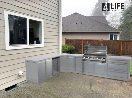 "Gray Stainless Steel 6 PC Outdoor Kitchen Set: 2x2-Door Cabinet, 1x3-Drawer Cabinet, 1xCorner Cabinet, 1 x 40"" BBQ, 1x side panel 15"